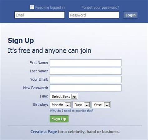 fb sign up signup form