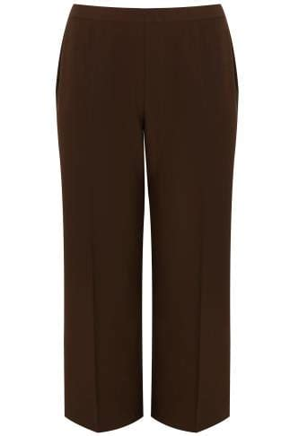 Leg 200 Medium Size Ekman Grab Sler Bottom Grab Sler brown classic leg trousers with elasticated waistband plus size 16 to 36