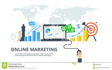digital marketing process banner in flat style concept