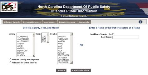 Nc Inmate Records Let S Look At The Search Options In Detail You May Choose To Search With The Or
