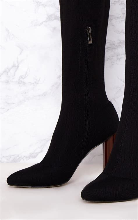 black woven thigh high sock heeled boots shoes
