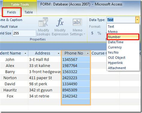 change access 2010 table field's data type