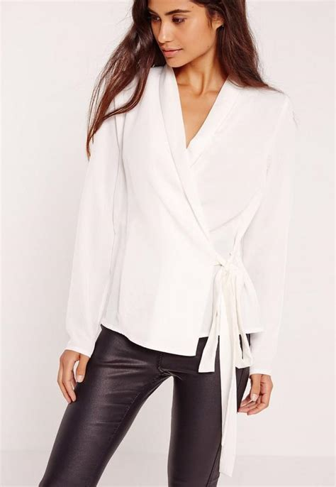 White Wrap Blouse Sleeve Uk sleeve wrap tie side blouse white missguided