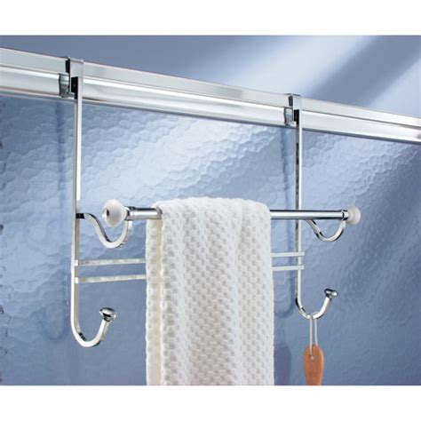 bathroom door towel rack interdesign york over the door towel rack white chrome