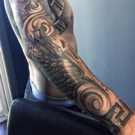 full sleeve wings stone tattoo for men tattoos pinterest