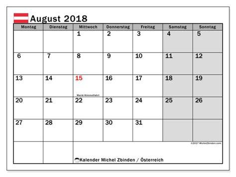 Kalender 2018 August Und September Kalender August 2018 214 Sterreich