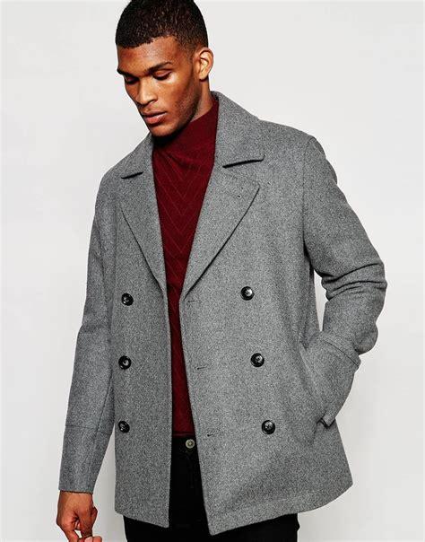 light grey peacoat mens asos wool peacoat in light grey in gray for lyst