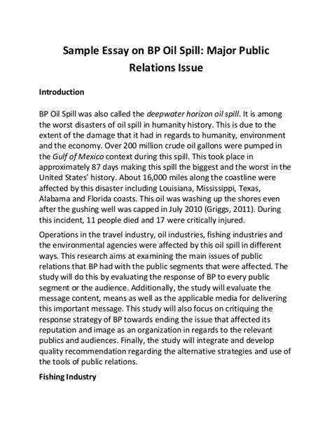 Essay For You by Sle Essay On Bp Spill