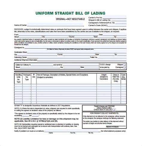 sample bill  lading forms