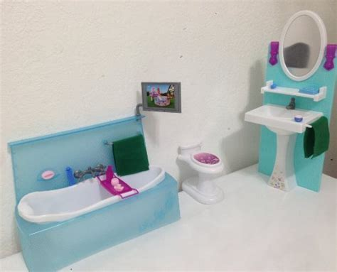barbie doll bathroom dollhouse furniture bathing fun with bath tub toilet