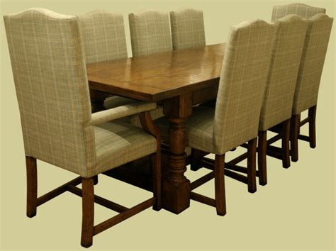 Headland Range Style Dining Chairs Solid Oak Period Style Refectory Dining Table Complete With 8 Fully Upholstered Side Chairs