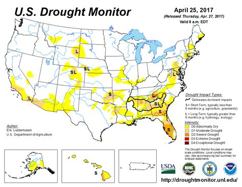 map of us drought states u s drought monitor update for april 25 2017 national
