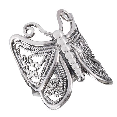sterling silver detailed butterfly ring size 6 10 ebay