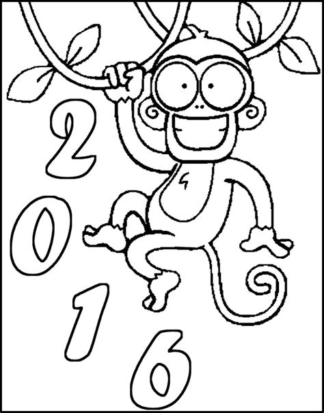 coloring page year of the monkey adult coloring page new year 2016 year of the monkey 2016 7