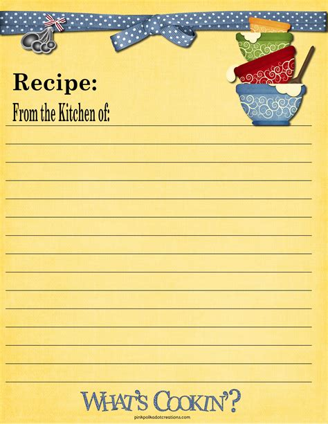 Recipe Card Template by Recipe Cards Pink Polka Dot Creations