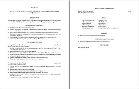 construction equipment operator resume machine operator description pdf