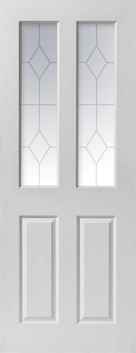 White Glass Interior Doors Canterbury Glazed Textured White Primed Doors