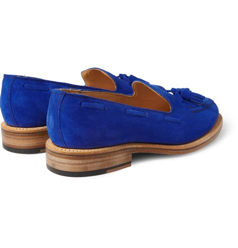 mcnairy loafers mcnairy new amsterdam suede tasselled loafers in blue