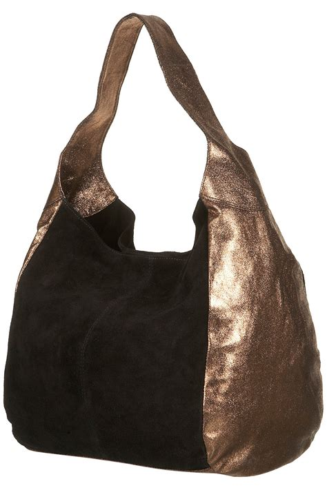 Leather Slouchy Satchel From Topshop by Topshop Merino Suede Slouch Bag In Brown Bronze Lyst
