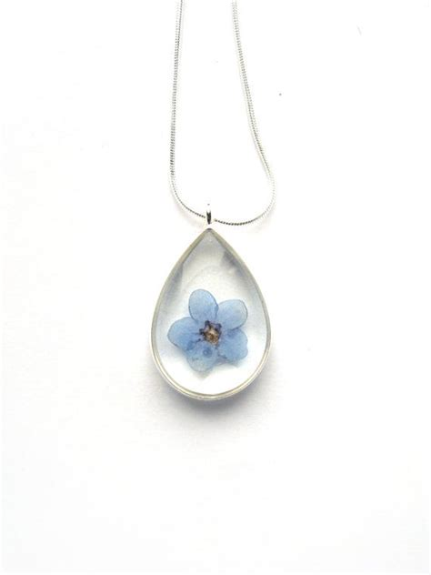 Forget Me Not Necklace P 178 real forget me not necklace real pressed flower in resin pressed flower jewelry flower