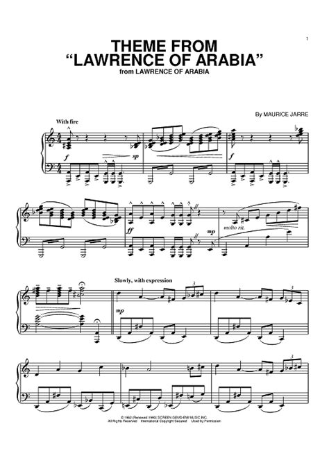 theme music lawrence of arabia theme from quot lawrence of arabia quot sheet music for piano