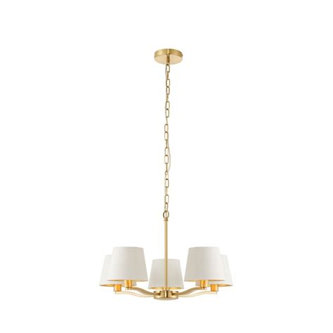 Brushed Gold Chandelier Endon Lighting Harvey 5 Light Ceiling Chandelier In Brushed Satin Gold Finish With White Faux