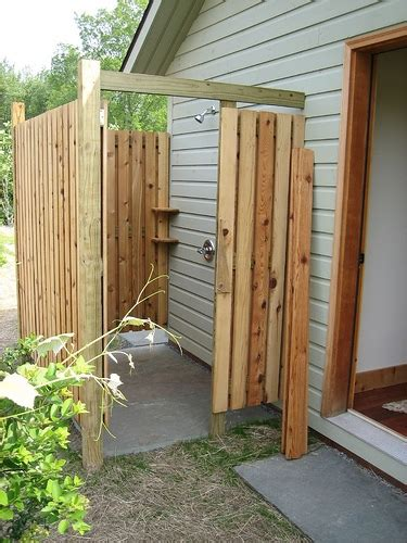 Building Outdoor Shower Stairs Studio how to build a rustic outdoor shower ehow