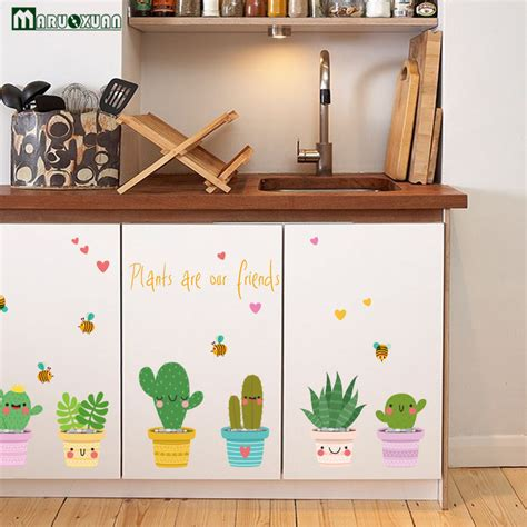 decorative wall with glass doors creative green potted body kitchen glass stickers