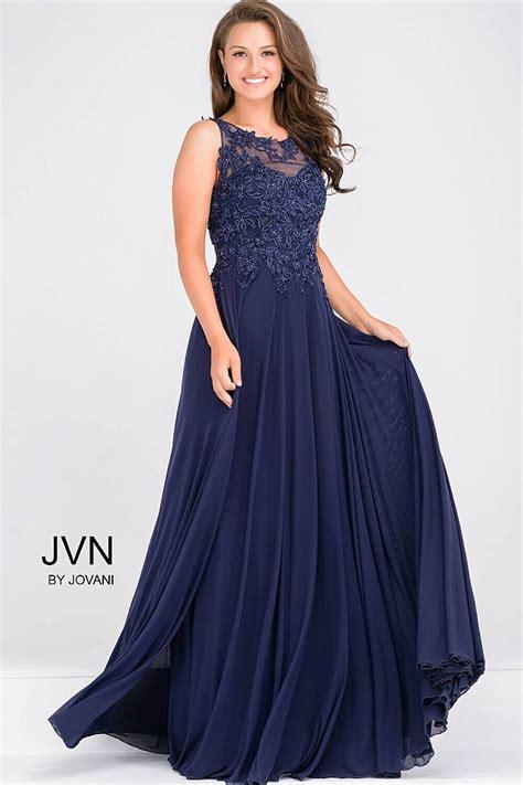 sleeveless sheer neckline navy beaded bodice evening dress