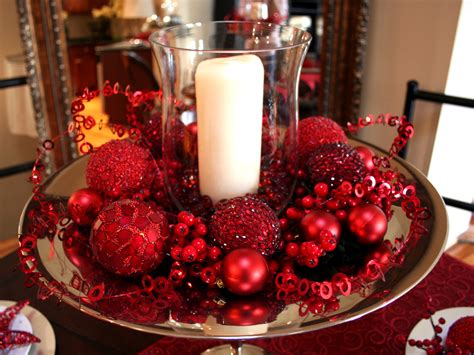Christmas Kitchen Decorating Ideas candle display with glass votive red ornaments and
