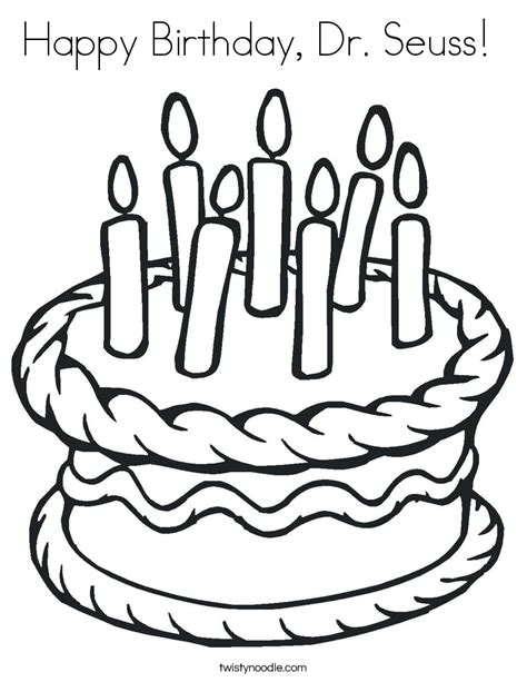 coloring pages dr seuss birthday happy birthday dr seuss coloring page twisty noodle