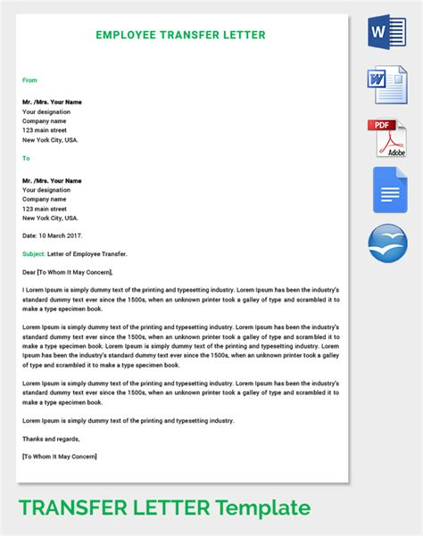 Transfer Letter From Employer To Employee 39 transfer letter templates free sle exle