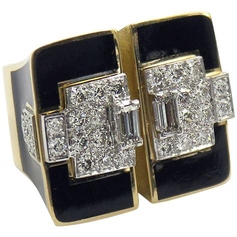 deco inspired rings large deco inspired ring with black enamel and diamonds at 1stdibs