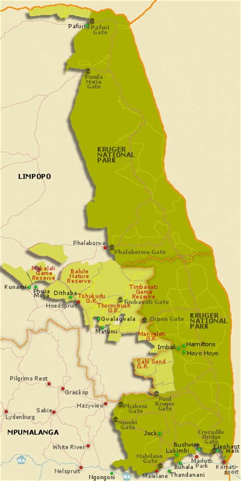 kruger national park map kruger national park wildafrica cz animal encyclopedia