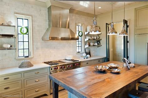 rustic butcher block kitchen island country kitchen