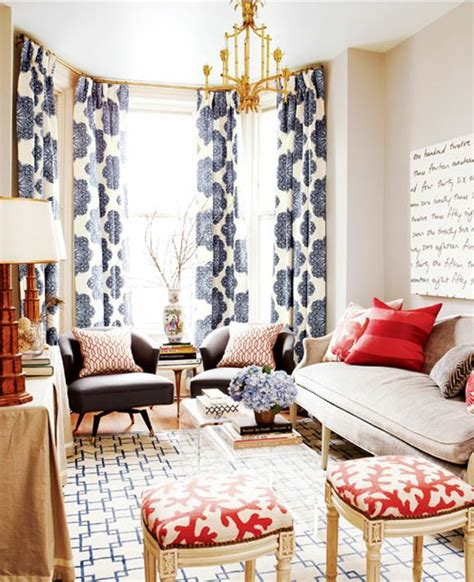 great drapes loving here navy and red living room i love the mixing of patterns