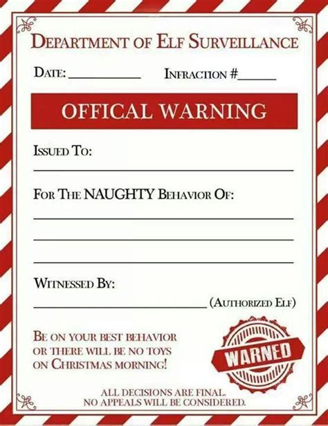 Elf On The Shelf Naughty List Warning Printable | 17 best ideas about christmas list printable on pinterest