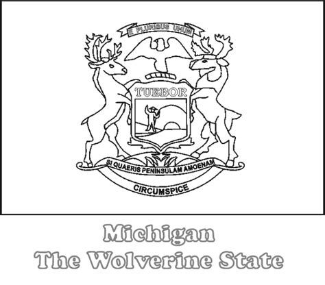 michigan state flag coloring page az coloring pages