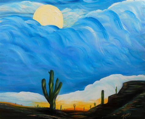 Sun And Moon Duvet Cover Desert Full Moon Semi Abstract Art Painting By Kathy Symonds