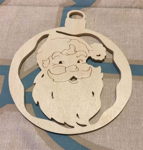 scrollsawn handcrafted round wooden santa claus christmas