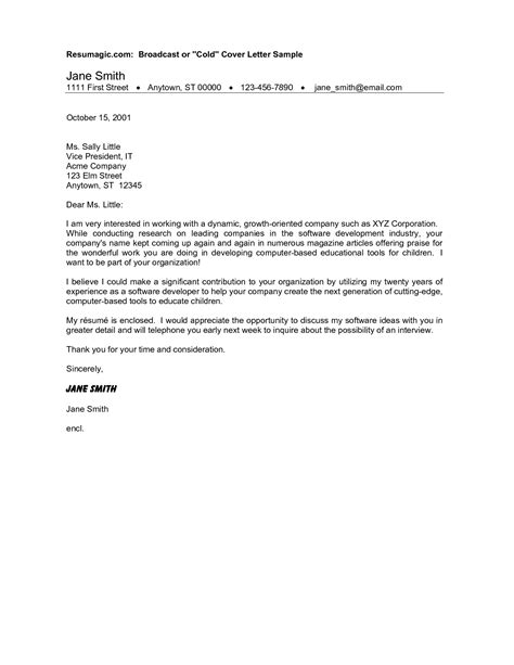 cold canvassing cover letter cold cover letter exle business cover letter exle