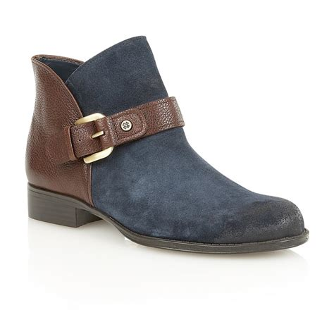 naturalizer shoes jarret navy suede brown leather ankle