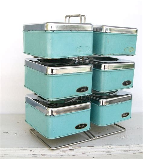 vintage turquoise metal kitchen canister set with by whitepicket set of six vintage aqua chrome kitchen storage canisters