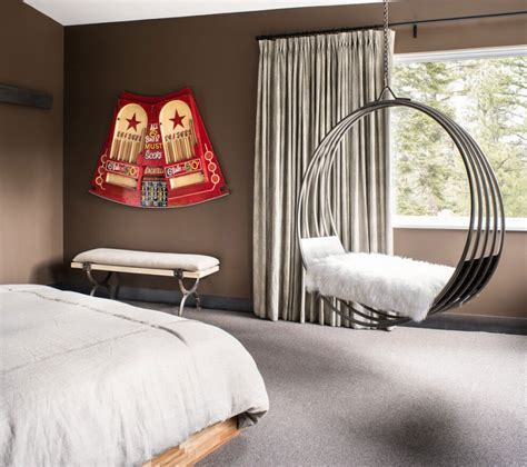 hanging chairs for bedrooms casual ski retreat featuring a fun and personal design