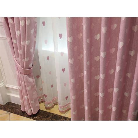 Pink Linen Curtains Pink Heat Jacquard Linen Dreamy Valance Curtains