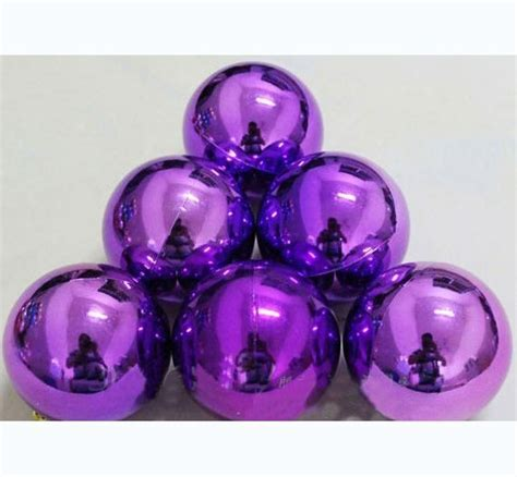 3 2 inch electroplating purple glitter balls christmas
