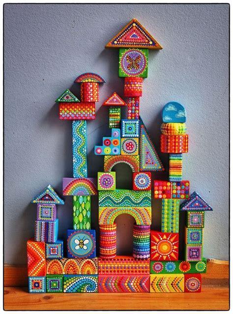 painted wooden blocks children wooden toys kids wood