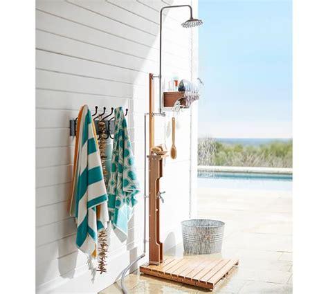 Outdoor shower amp wall mount shower shelf pottery barn