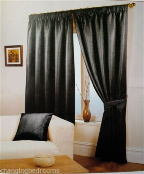 black curtains 90x90 changingbedrooms com black waffle effect tape top curtains