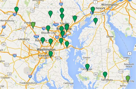 map of maryland near dc dc fast charger locations constant current charger